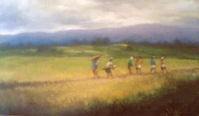 lukisan sawah,lukisan pemandangan sawah,lukisan,lukisan suasana sawah,lukisan desa.