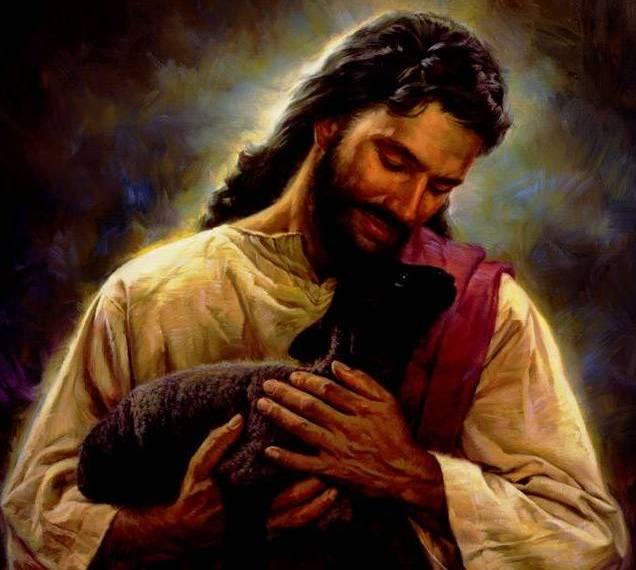 Jesus levando ovelha negra nos braços