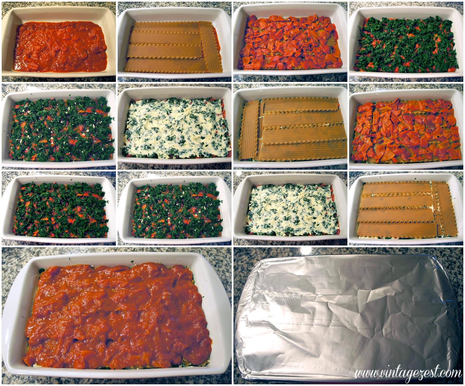 Spinach & Roasted Red Pepper Lasagna on Diane's Vintage Zest!