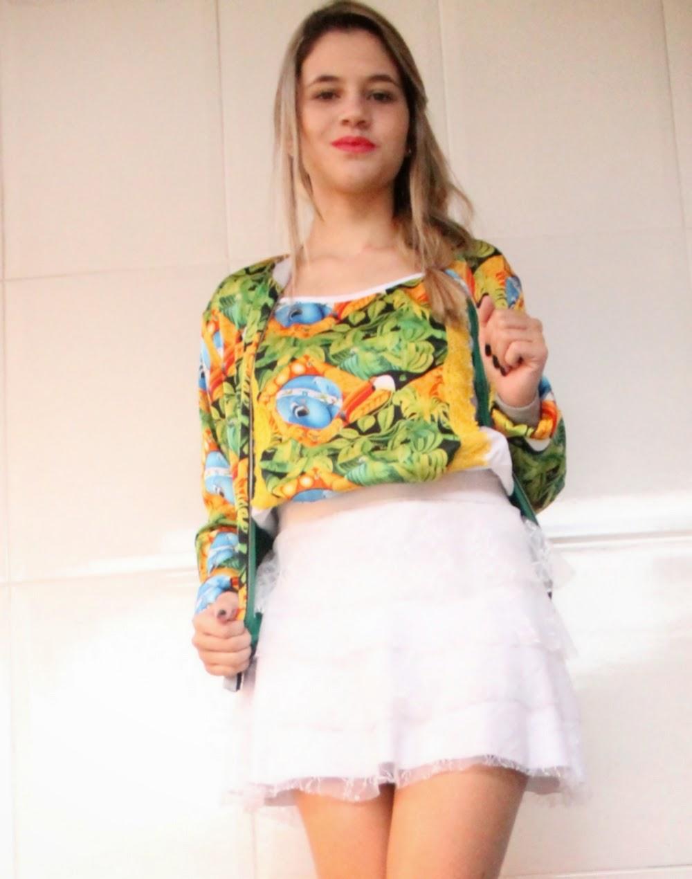 Look blogueira - copa do mundo - Brasil - Crocs - Saia de Renda