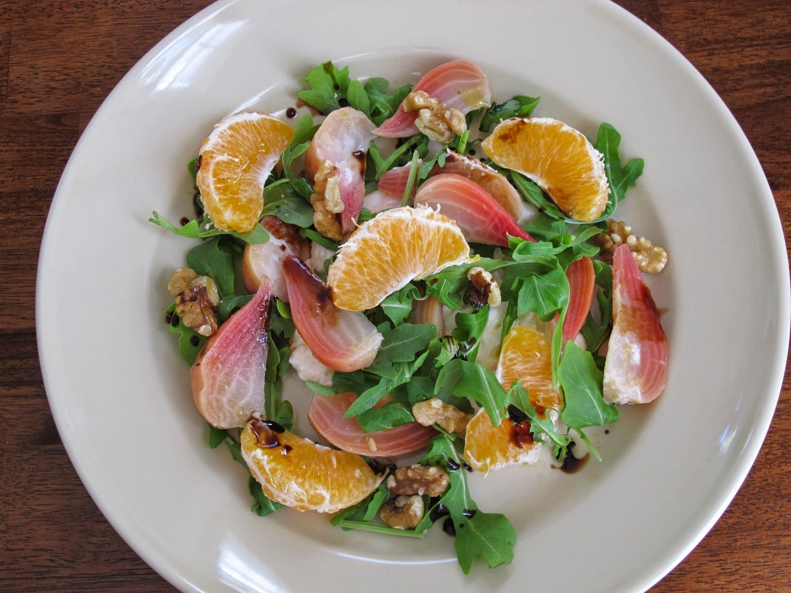 Burrata, Beet, Tangerine, Arugula, and Walnut Salad