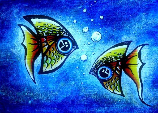 Cruz del sur shambala exposici n de pinturas en relieve - Cuadros con peces ...
