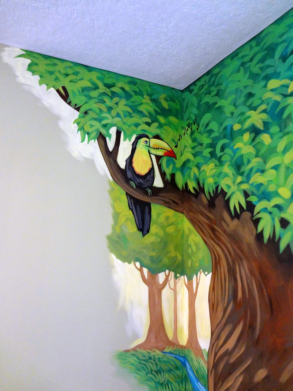 animals playing instruments mural, kids room mural with animals, animal band mural