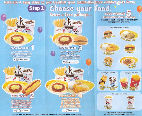 Step 1 in Jollibee party brochure