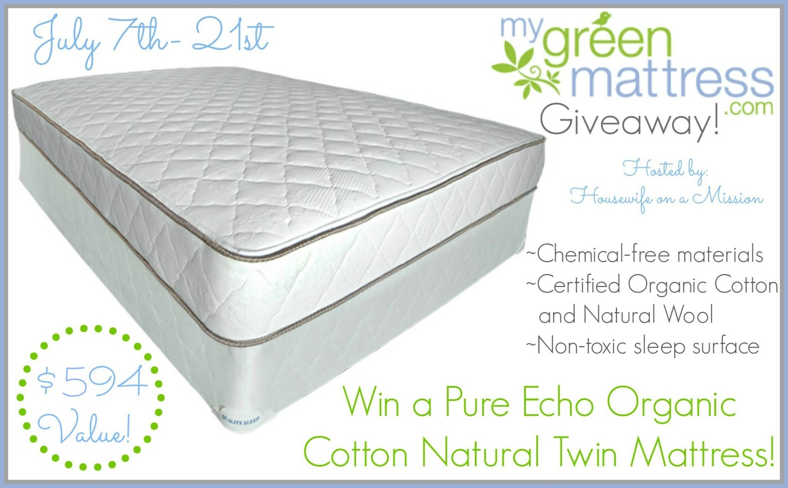 My Green Mattress Giveaway – Ends 7/21