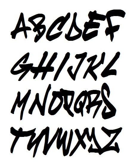 Graffiti Alphabet Letters AZ Cruze In Black And White Style