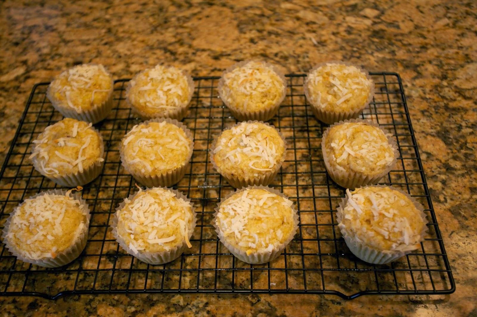 banana coconut orange berry surprise muffins