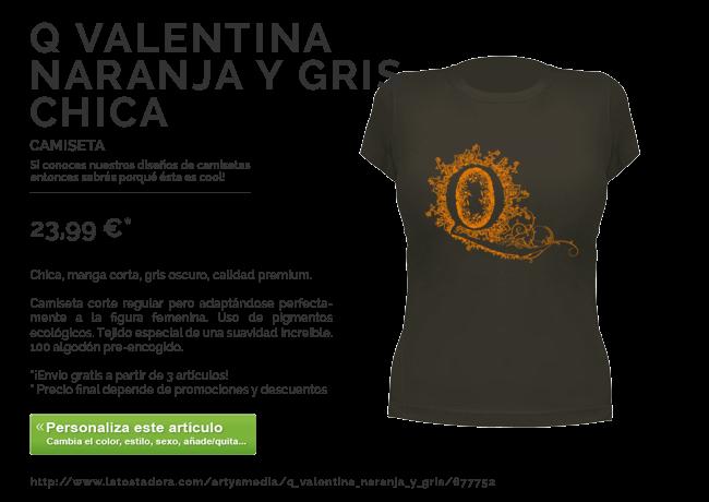 Camiseta Q Valentina Naranja y Gris
