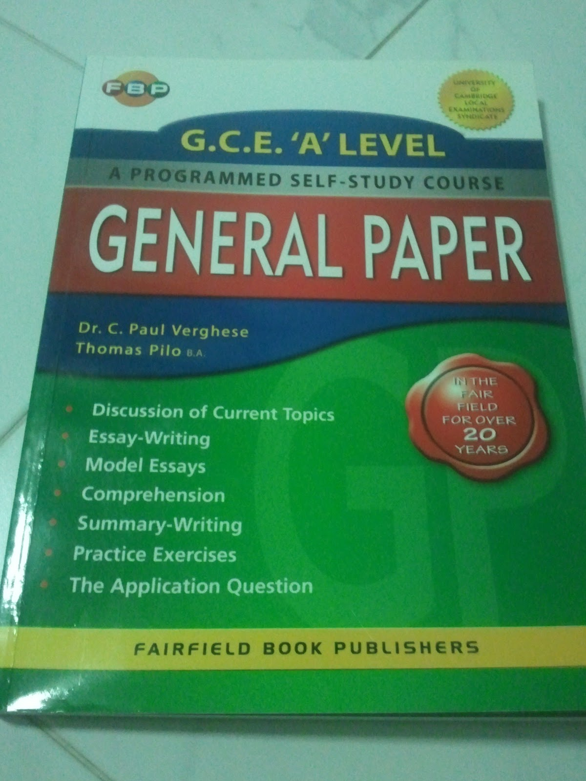 books notes for at affordable rates  gce a level general paper a programmed self study course