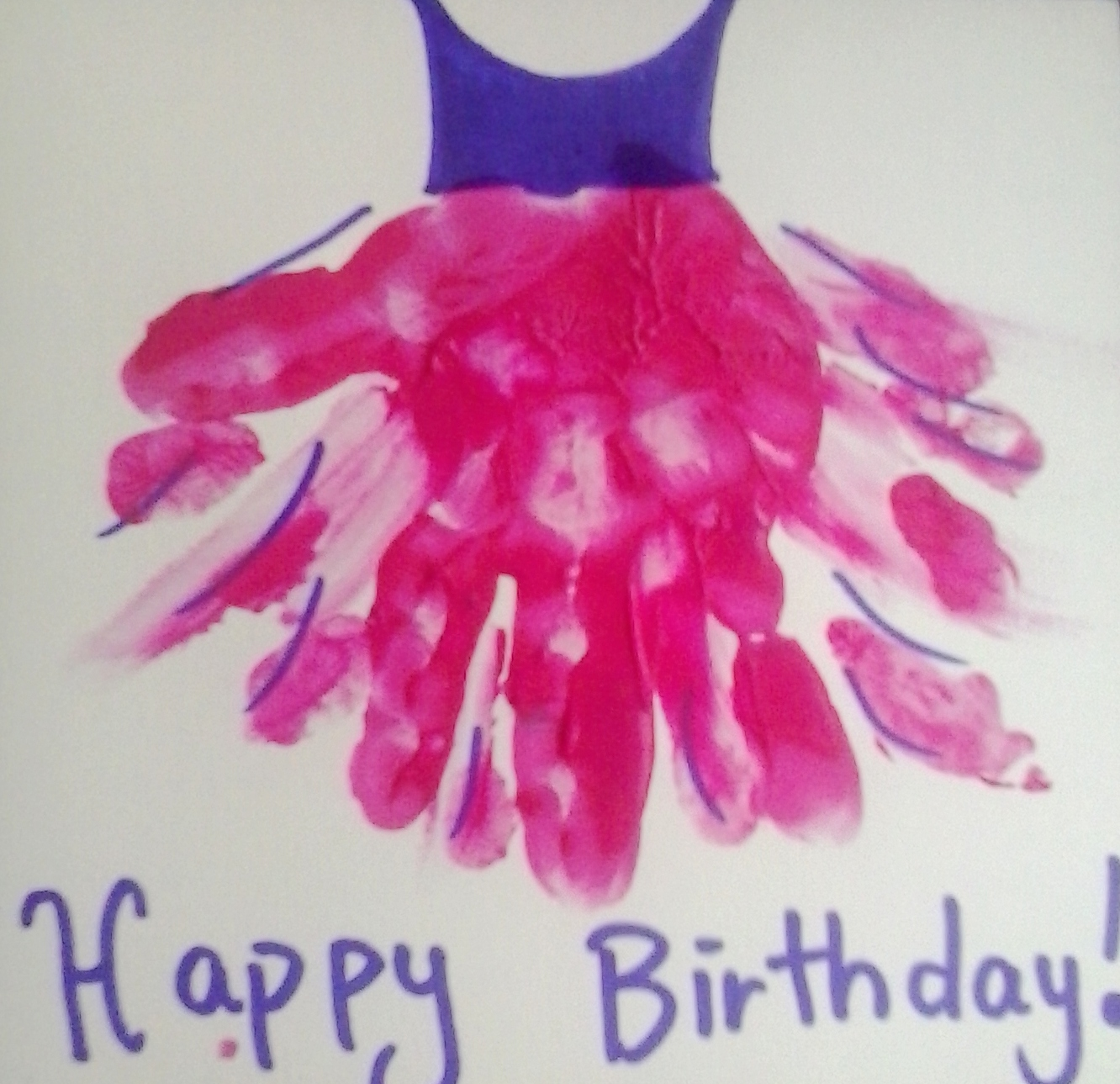 Hand Print Tutu A Stunning simple Home Made Birthday Card – Print at Home Birthday Cards