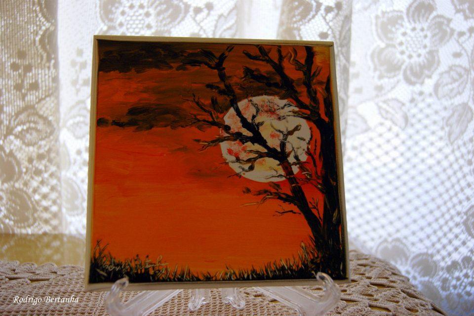 Rodrigo bertanha artes plasticas luna llena pintura hecha a dedo en azulejo con pintura a oleo - Pintura sobre azulejo ...