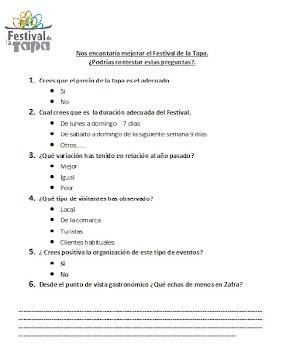 Encuesta del Festival de la tapa