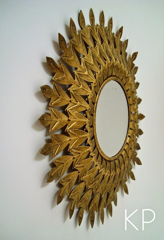 Kp tienda vintage online espejo sol met lico sun for Espejos dorados baratos