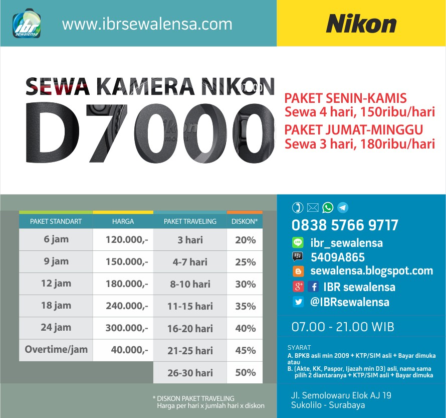 Harga sewa kamera Nikon D7000