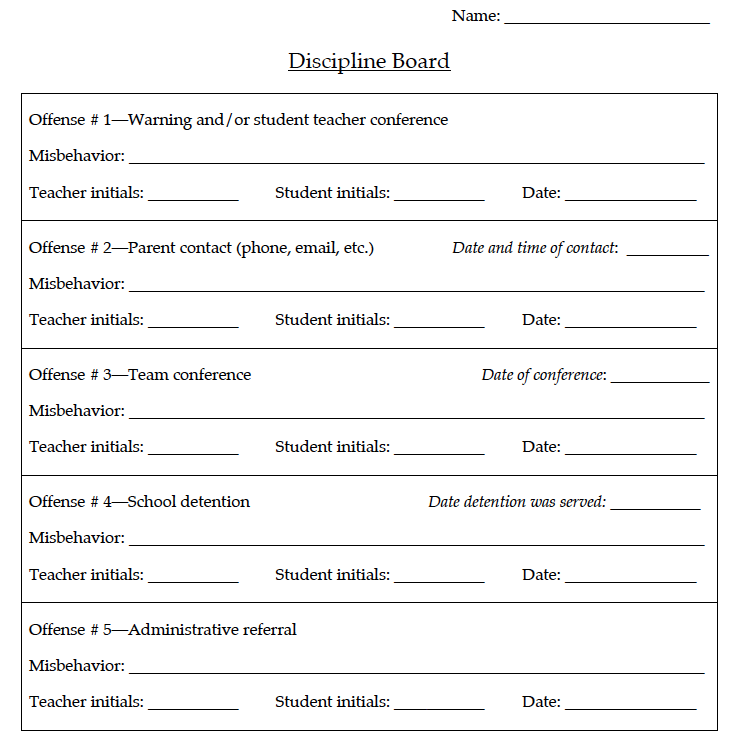 Obertopia Behavior Accountability Discipline Board