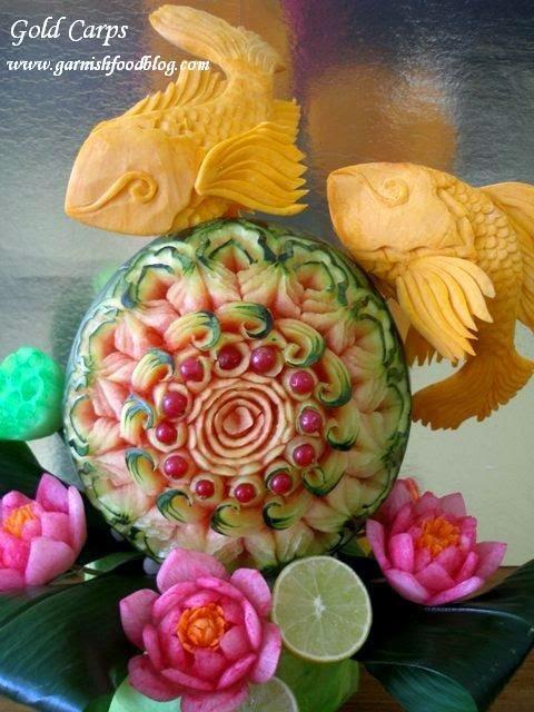 fish sculpture of pumpkin