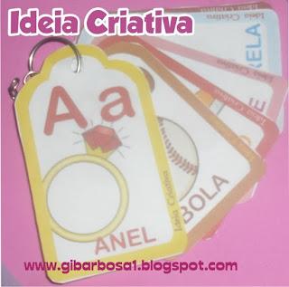 Alfabetário Chaveiro com Flash Cards para Imprimir
