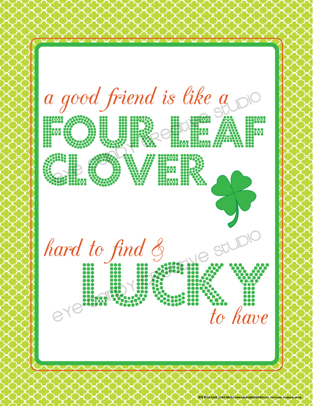 free download, free subway art, st pattys day subway art, four leaf clover, lucky