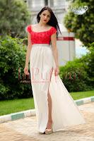 Rochie lunga de seara cu trandafiri rosii