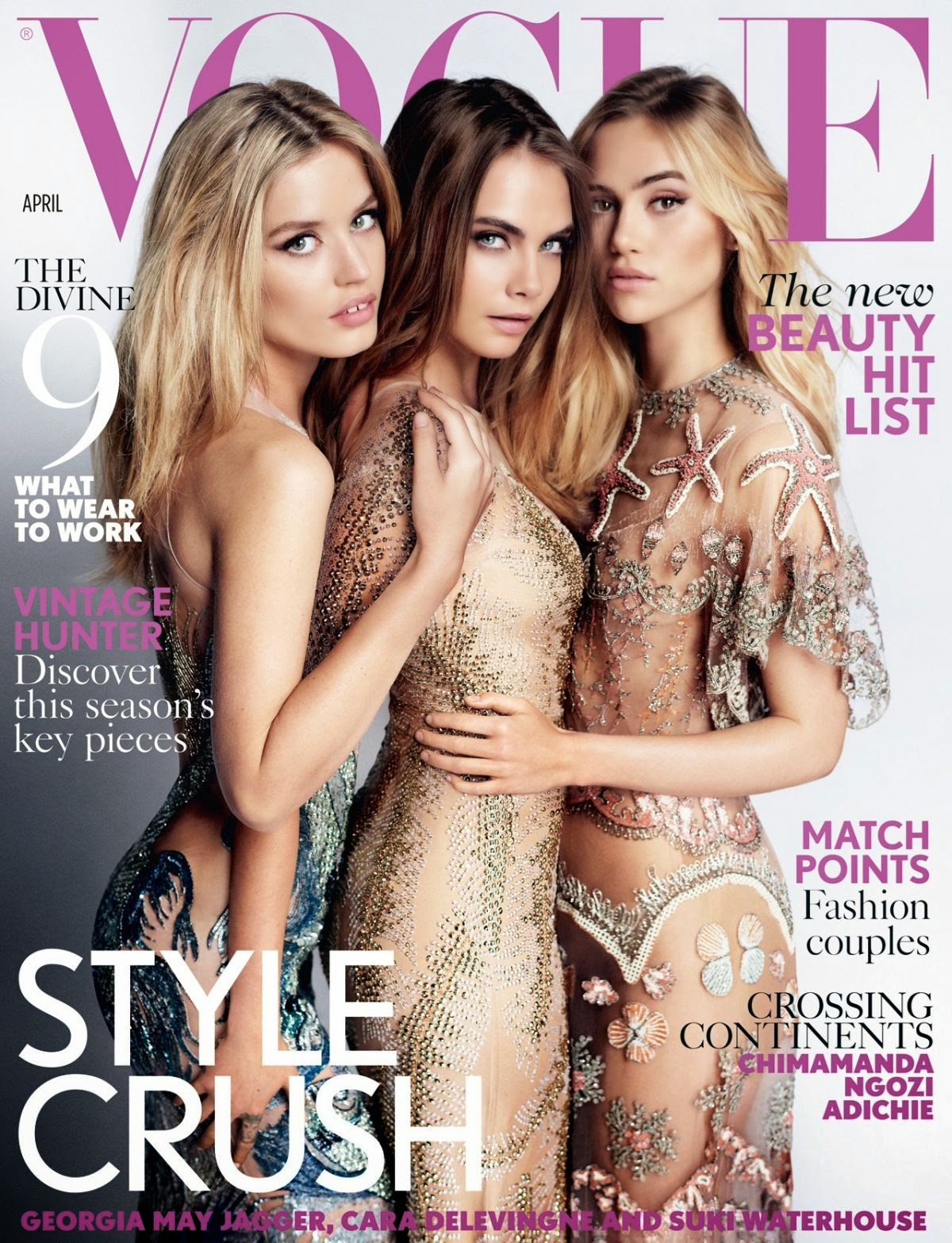 Actress, Model @ Suki Waterhouse, Cara Delevingne And Georgia May Jagger In Vogue Magazine, April 2015 Issue