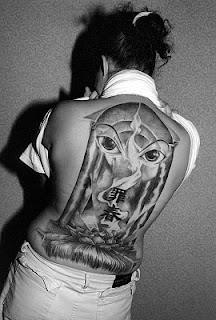 Black and Grey Ink Back piece Tattoo