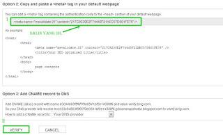 Verifikasi blog di bing webmaster tools