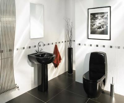 decoración baño blanco y negro