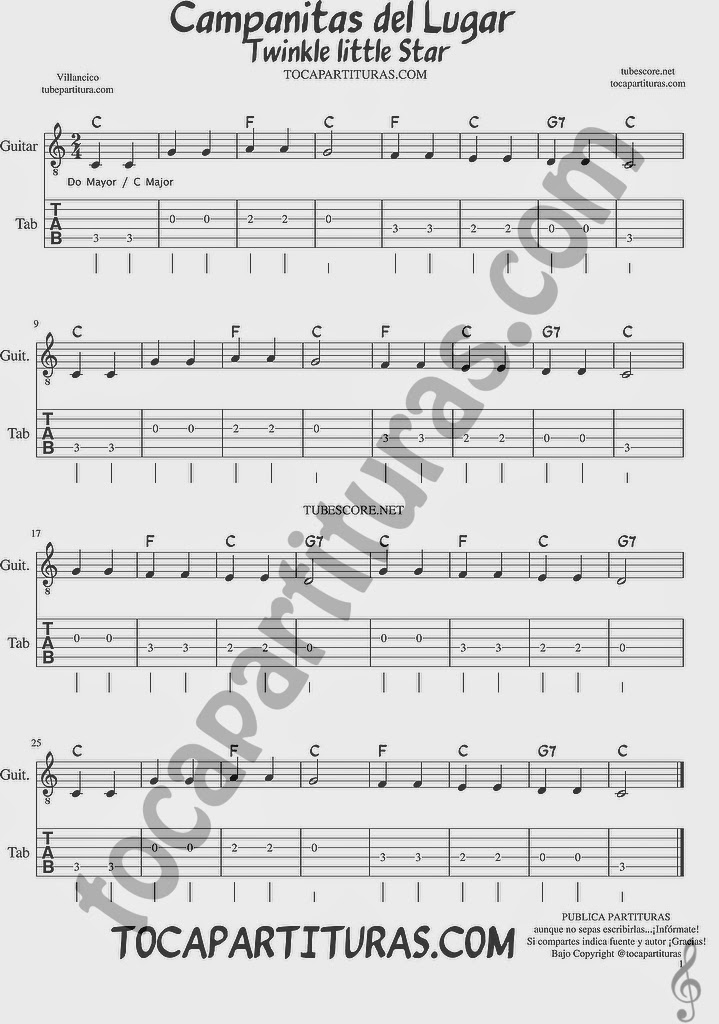 Tubescore Twinkle Twinkle Little Star Sheet Music for Guitar in C major Campanitas de Lugar Christmas Carol