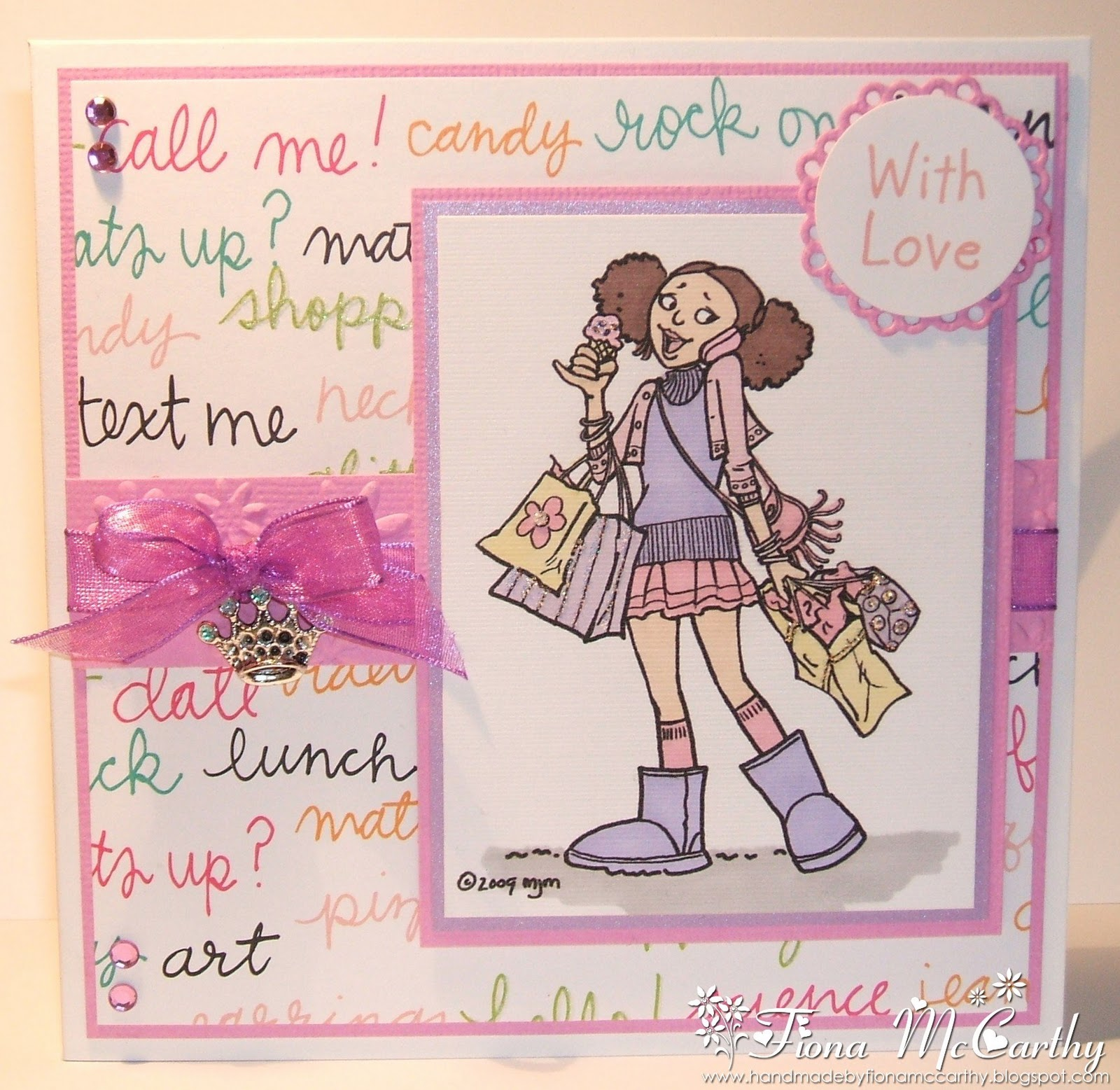 handmade by fiona mccarthy girlie teen card, Birthday card