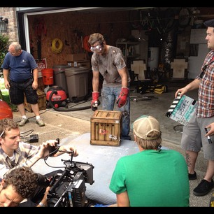 A photo of a scene from the e3 spark plug shoot.