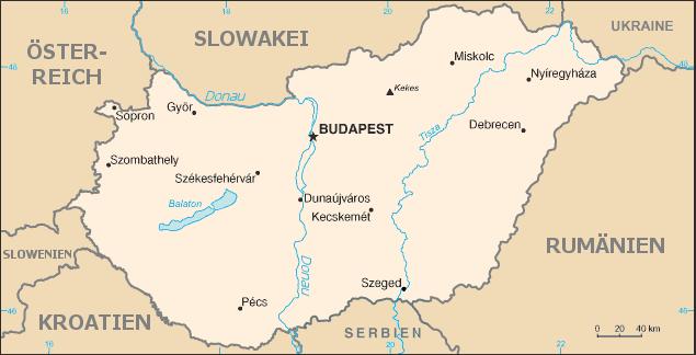 politische landkarte von ungarn 2011 deutsch weltatlas. Black Bedroom Furniture Sets. Home Design Ideas
