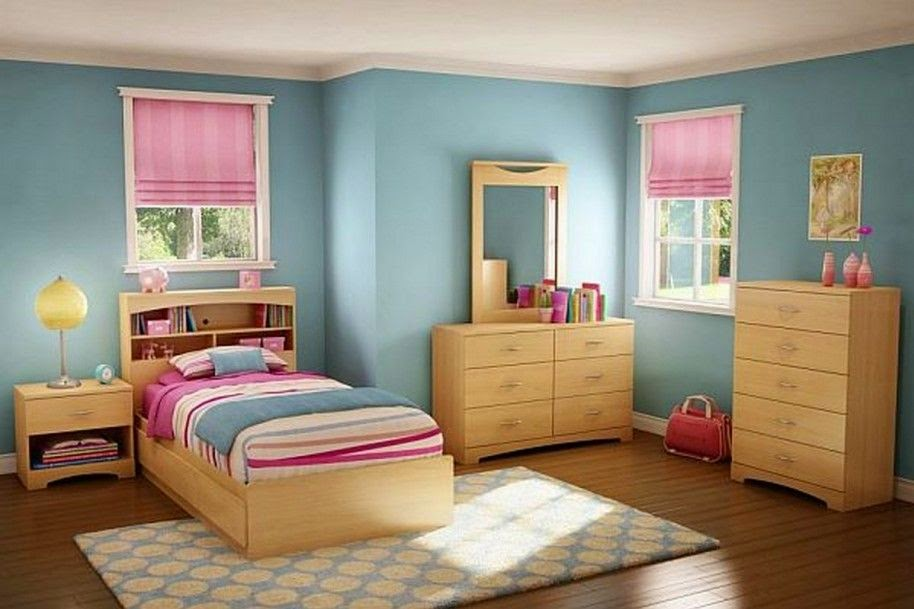 Kombinasi Warna Kamar Tidur Pink dan Biru