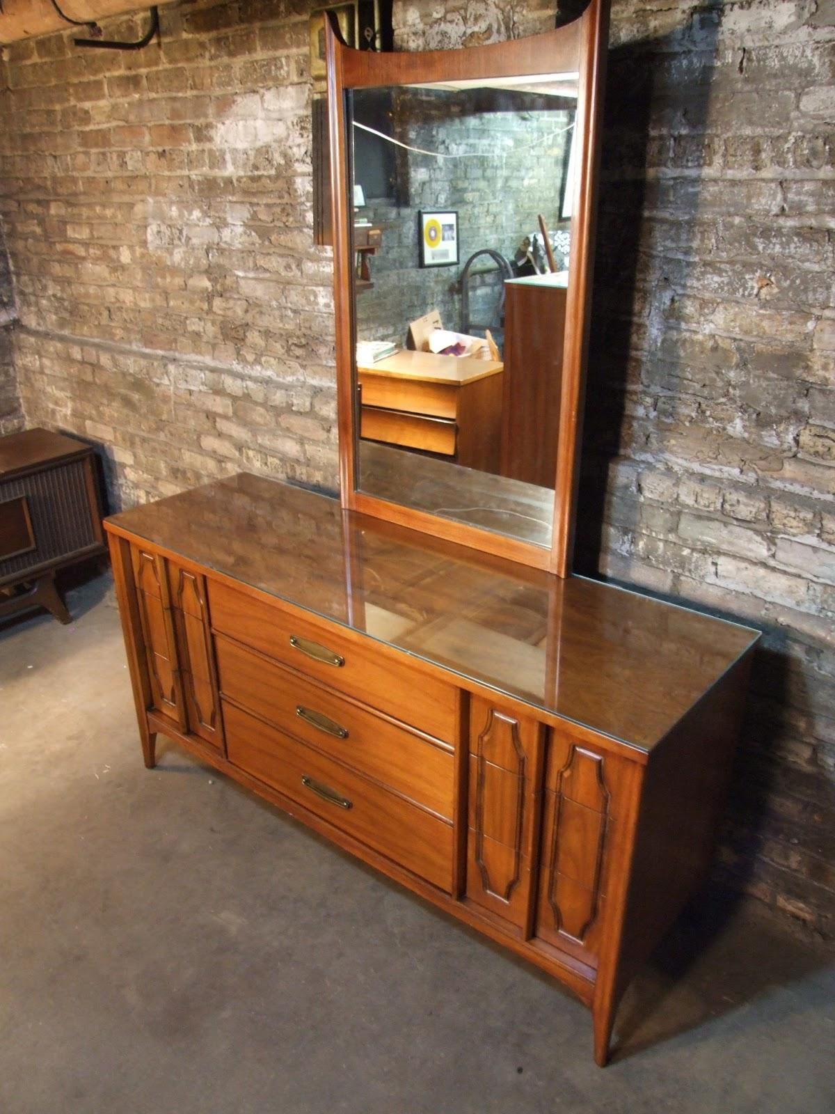 Mid Century Chicago Kent Coffey Marquee Modern Lowboy Dresser W Mirror