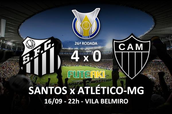 Veja o resumo da partida com os gols e os melhores momentos de Santos 4x0 Atlético-MG pela 26ª rodada do Brasileirão 2015.