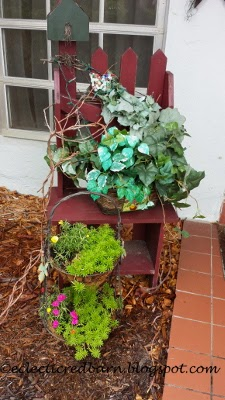 Eclectic Red Barn: Two-tiered planter with picket bench
