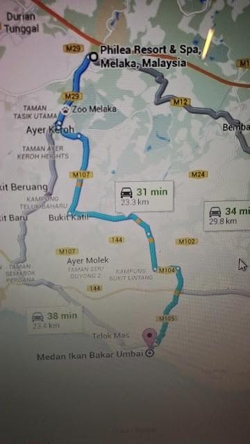 map ke ikan bakar parameswara umbai melaka