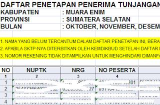 gambar Daftar Penetapan Penerima TPG Tahap 4 Tahun 2015 Kabupaten Muara Enim