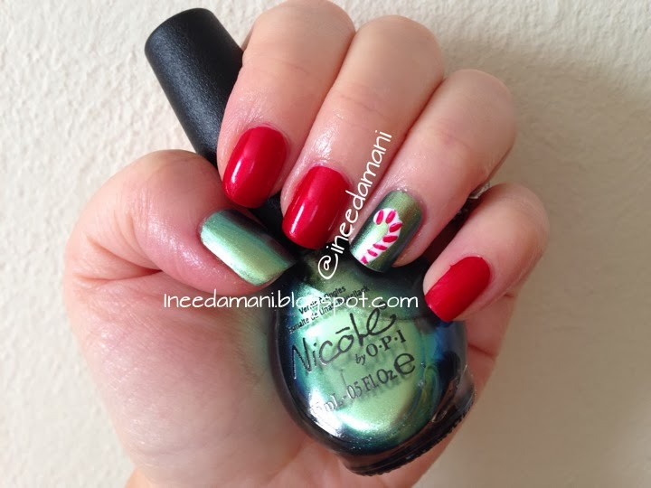 candy cane nail art nicole opi mermaid for each other