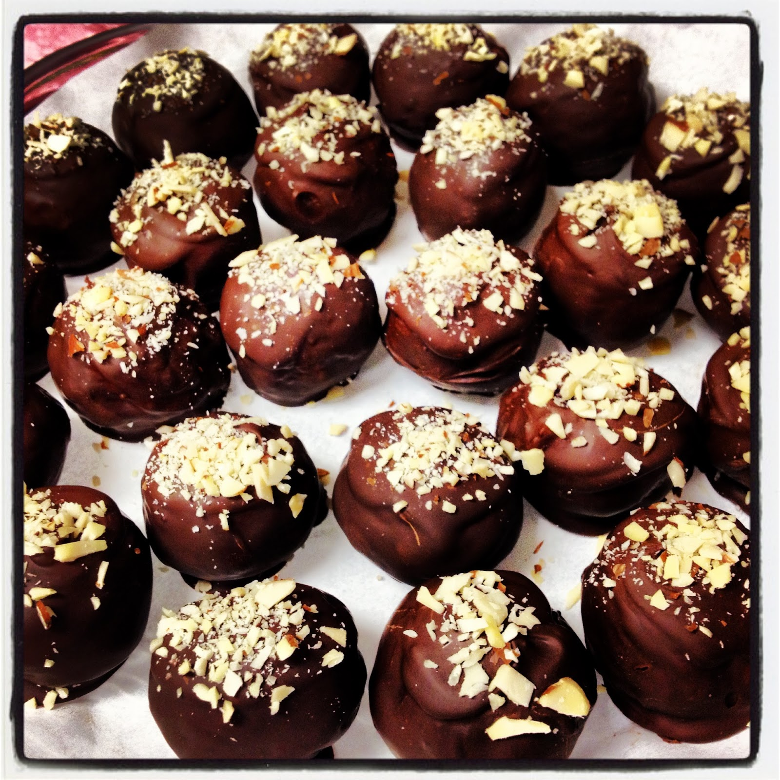... Chocolate Dipped Almond Truffles. They tasted like a cross between