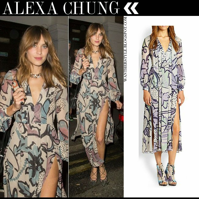 Alexa Chung in floral silk maxi dress by Burberry Prorsum August 16 2014 want her style