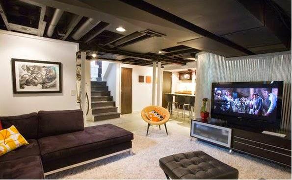 conceptions modernes des sous sol en salon d coration salon d cor de salon. Black Bedroom Furniture Sets. Home Design Ideas
