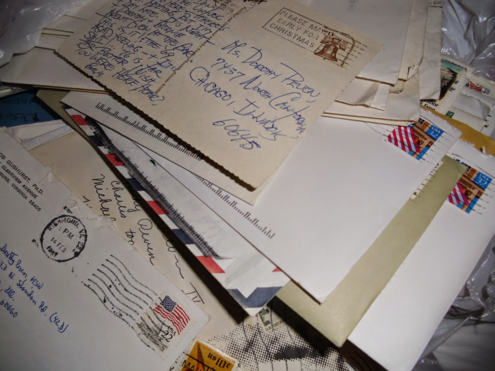 pile of vintage mail