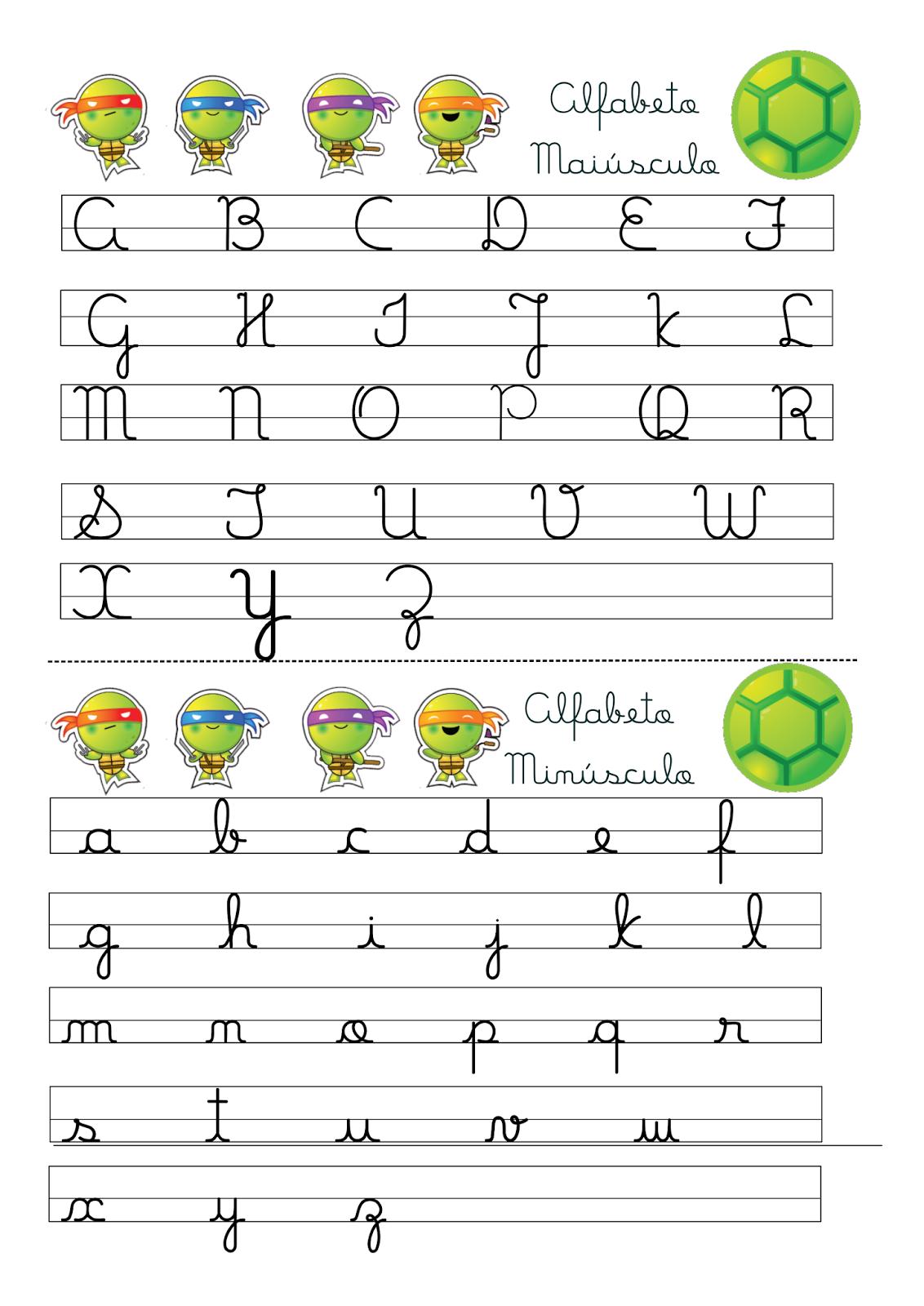 Top Alfabeto Letra Cursiva Maiúscula e Minúscula Tartarugas Ninjas  PH02