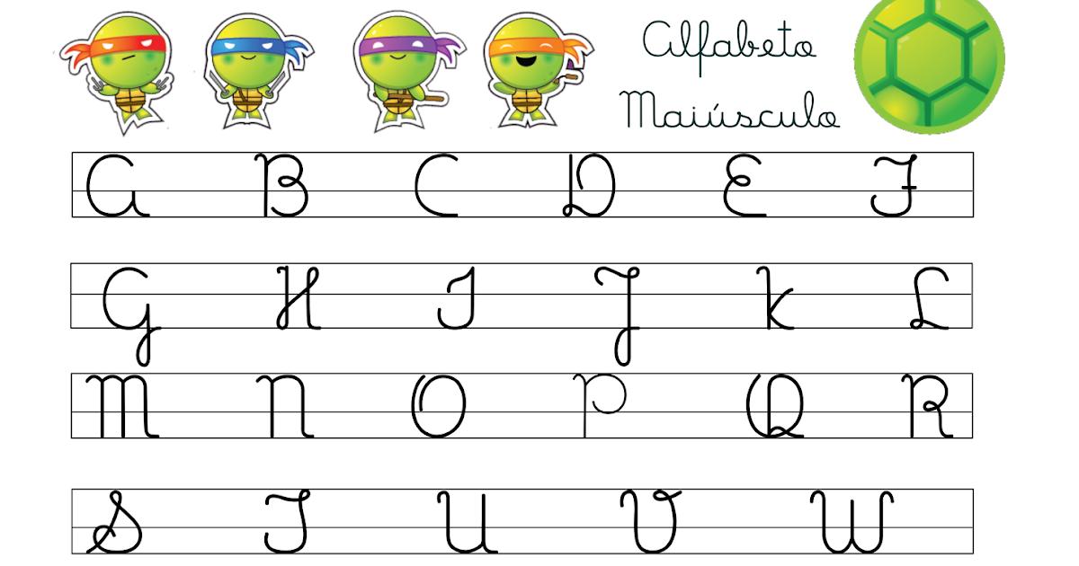 Muitas vezes Alfabeto Letra Cursiva Maiúscula e Minúscula Tartarugas Ninjas  JK73