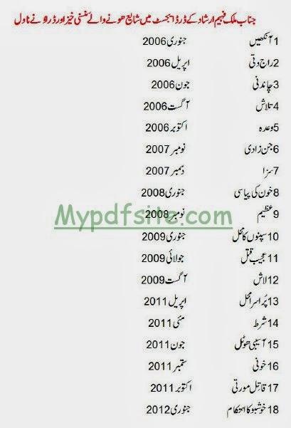 Malak Faheem Novel List