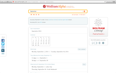 Wolfram Alpha Search for 'September'