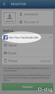 Gambar c. Form pendaftaran - Tombol info Facebook