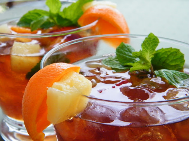 ... version I used freshly brewed iced tea with a mix of fruit and mint