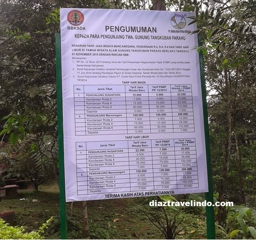 Ticket price to Tangkuban Perahu