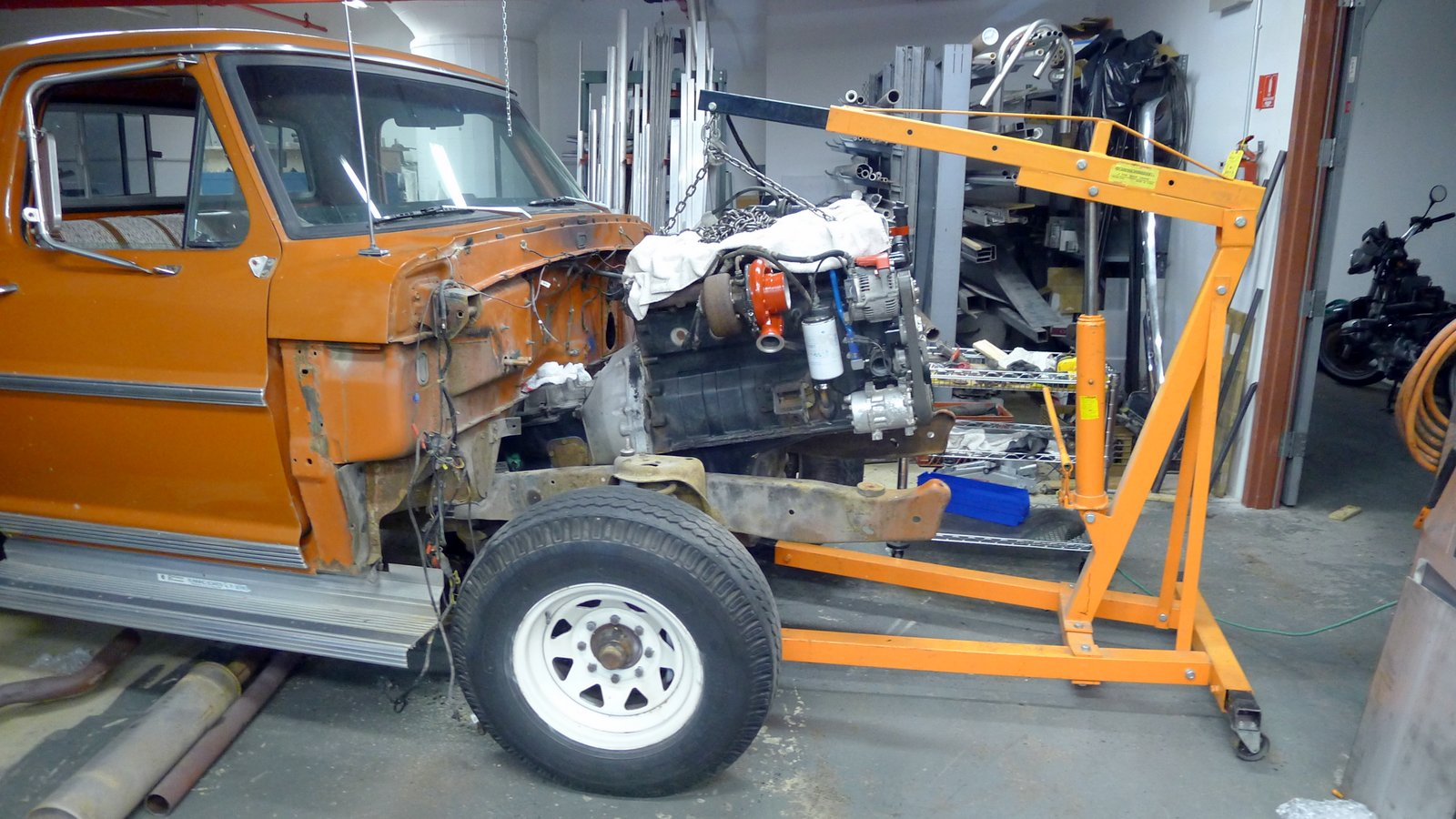 A Diesel Conversion Of 1969 Ford F250 Camper Special Test Fitting F 250 Looks Like It Will Be Fairly Straight Forward Fit We May Have To Notch The Cross Right In Front Transmission Brace By